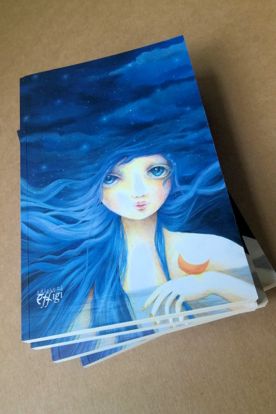 Quaderno illustrato da Cinzia Bardelli la luna blu