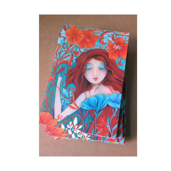 Quaderno illustrato da Cinzia Bardelli rosso autunno